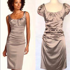 Suzy Chin Satin Sheath Cocktail Dress